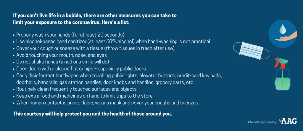 Ways to limit exposure to the coronavirus
